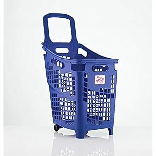 Araven Shop N Roll - X-Large 4 Wheel Plastic Shopping Trolley Basket (65L) Blue