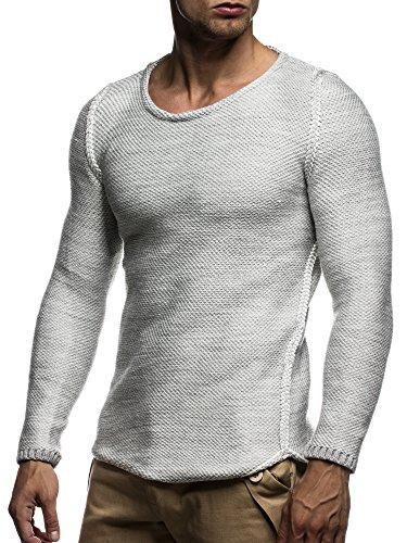 LEIF NELSON Herren Strickpullover Pullover Sweatshirt LN20707; Grš§e M, Grau