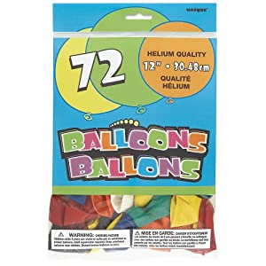 Unique Party- Paquete de 72 globos de fiesta de látex, Multicolor, 30 cm (52337)