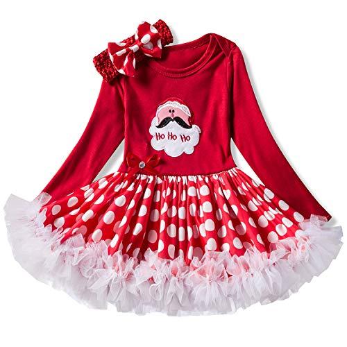 (NNJXD Infant Mädchen Weihnachten Karneval Kostüm Neugeborenen Baby Dress Up Polka Dots Kleinkind Mädchen Overall Rock + Stirnband 0-6 Monate #1 Rot)