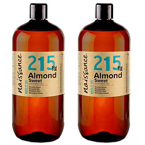 Naissance natürliches Mandelöl süß (Nr. 215) 2 x 1 Liter - Vegan, gentechnikfrei - Ideal zur Haar- und Körperpflege, für Aromatherapie und als Basisöl für Massageöle