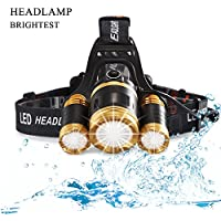 Crazydream LED Head Torch Light Headlight Rechargeable Waterproof 6000 Lumen Bright LED Headlamp Flashlight Zoomable for Hard Hat Camping Running Fishing