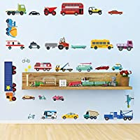 DecalMile Cars Wall Stickers Transports Kids Room Wall Decor Peel and Stick Wall Decals for Boys Children