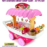 Toy-Station - Pretend Play Set (Battery Operated Ice Cream Trolley Set For Kids Pretend Roll Play With Led Lights-Big)