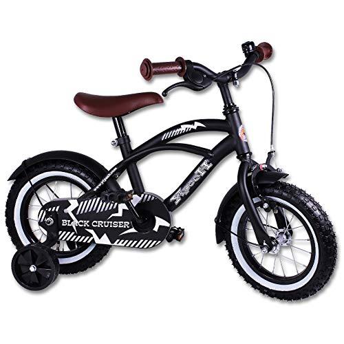 Kinderfahrräder - Fahrrad - Kinderrad - 12 Zoll mit Motivauswahl (Black Cruiser)