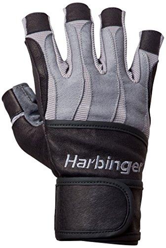 Harbinger Bioform Herren-Gewichtheber-Handschuhe mit Handgelenksbandage und wärmeaktivierten Innenhandpolstern L grau
