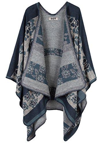 DJT - Cardigan Casuale Scialle Outwear scialle Tops - Donna Blu-A05 Taglia unica