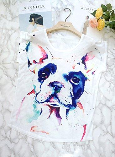 Futurino Damen Sommer Bunte Tinte Pit Bull Dog Print Lose Ärmel TShirt Weiß