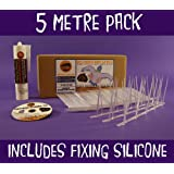 Defender Narrow Plastic Bird and Pigeon Spikes 5 Metre Pack with Adhesive Fixing Silicone. A Humane Bird & Pigeon Control Repellent. Get rid of pigeons and scare birds effectively with our anti-roosting deterrent