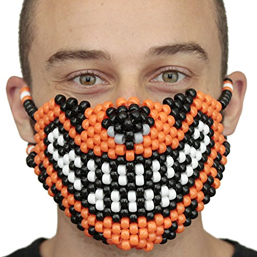 Orange Tiger Kandi Mask by Kandi Gear, rave mask, halloween mask, beaded mask, bead mask for music fesivals and parties