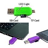 RMCtrends - Adaptador USB, Micro USB y lector de tarjetas de memoria TF, SD y micro SD para móvil, cámara, portátil o PC (color negro)