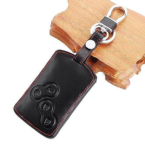 WOQUi Étui pour clés de voiture en cuir véritable 4boutons pour Renault Clio Scénic Mégane Duster Sandero Captur Twingo