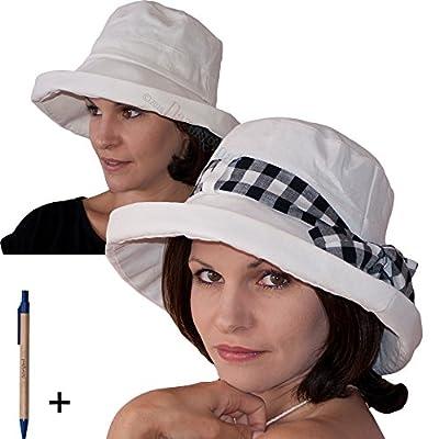 Übersommern Sie flexiblen zusammenklappbaren Sommer Sonne Damen und Mädchen Hut + einstellbar - Crushable breiter Eimersonnenhut, Ebene luxuriöse Sonnenhüte - man Größe verstellbarer Womens-Hut Anti UV Sunbonnet, Geschenkideen(Weiß / Creme)