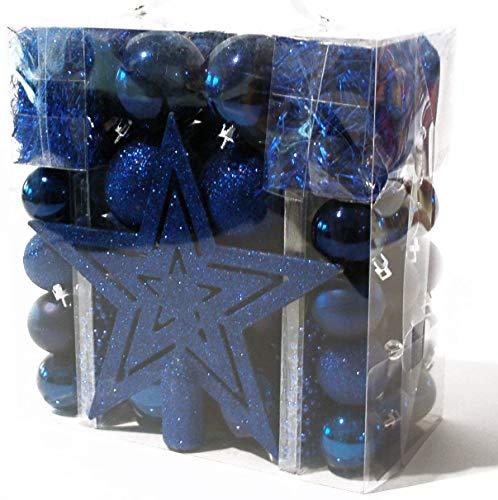 Heitmann Deco Weihnachtsbaum-Schmuck - blau - 45-teilig - Set inkl. Baumspitze, Kugeln, Perlketten und Girlanden - Kunststoff