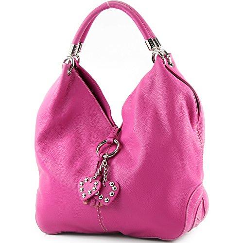 modamoda de - 330 - ital Handtasche Shopper Schultertasche Leder, Farbe:Pink - Wildleder-schuh-tasche