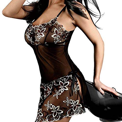 LANOMI Damen Sexy Reizwäsche Nachtkleid Spitze Satin Nachthemd Unterwäsche Babydoll Dessous Kimono Negligee Schwarz (EU40-XL) (Gute Geschichte Buch Figur Kostüme)