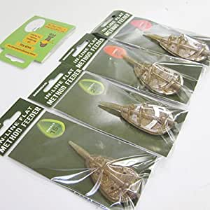 FTD - Min of 3 x DRENNAN In Line Flat Method Feeders (to fit HEAVY & LIGHT Easy Bait Moulds) 15g, 25g & 35g also comes with 10 FTD Barbless Hooks to Nylon (3 feeders - 15g small)