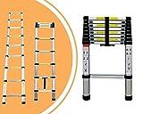 Leogreen - Telescopic ladder, Extendable Ladder, 8.5 feet, EN 131, Maximum load: 330 lbs, Distance between the rungs (ladder deployed): 30 cm