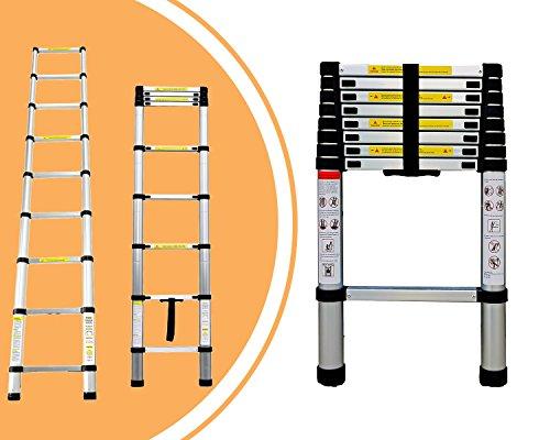 Leogreen - Escalera Telescópica, Escalera Extensible, 2,6 Metro(s), EN 131, Carga máxima: 150 kg, Distancia entre los peldaños (escalera desplegada): 30 cm