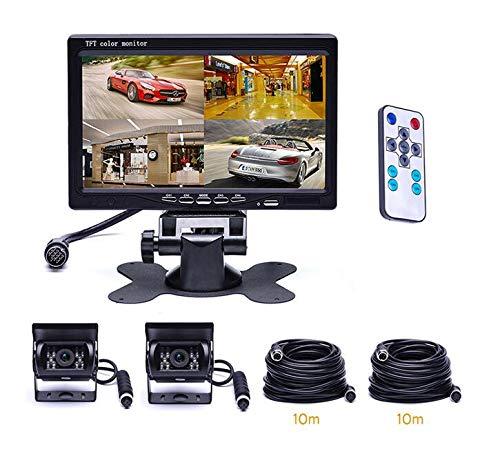 WSJS Auto Rückfahrkamera Kit mit Monitor Sensoren LKW-Rückfahrkamera verdrahtet Bildschirm 7 Zoll wasserdichter Monitor 4-Pin-Kabel für LKW RV LKW (Box Storage Rv)