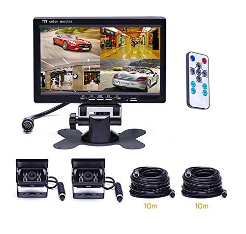 WSJS Auto Rückfahrkamera Kit mit Monitor Sensoren LKW-Rückfahrkamera verdrahtet Bildschirm 7 Zoll wasserdichter Monitor 4-Pin-Kabel für LKW RV LKW Rv-batterie-kabel