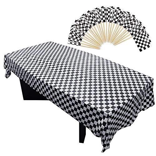 Homgaty 101-teiliges Partyzubehör, 100 Stück Mini-karierte Rennflagge, Zahnstocher Stick Cupcake Topper und 1 Packung Kunststoff kariert Tischdecke, schwarz und weiß rechteckig