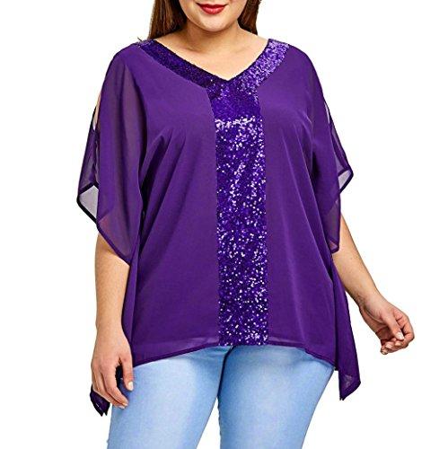 Size Plus Damen-abendmode (MRULIC Geschenk Zum Muttertag Mode Damen Plus Size Trägerlose Pailletten Bling T-Shirt V-Ausschnitt Chiffon Tops(Lila,EU-50/CN-2XL))