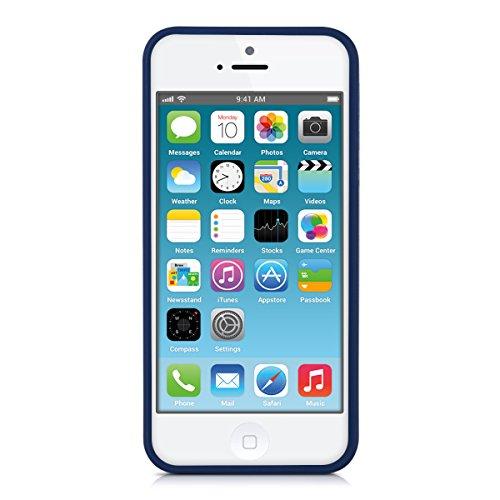 kwmobile Hülle für Apple iPhone SE / 5 / 5S - TPU Silikon Backcover Case Handy Schutzhülle - Cover Metallic Rosegold .Dunkelblau matt