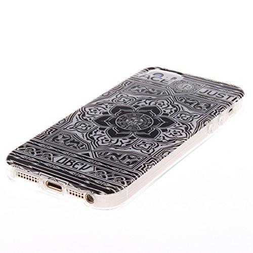 Apple Iphone 5 5S hülle MCHSHOP Ultra Slim Skin Gel TPU hülle weiche Silicone Silikon Schutzhülle Case für Apple Iphone 5 5S - 1 Kostenlose Stylus (Campanula Tanzen mit Feder in rosa Himmel(Campanula  Blumen Tribal Aztec (Flower Tribal Aztec)