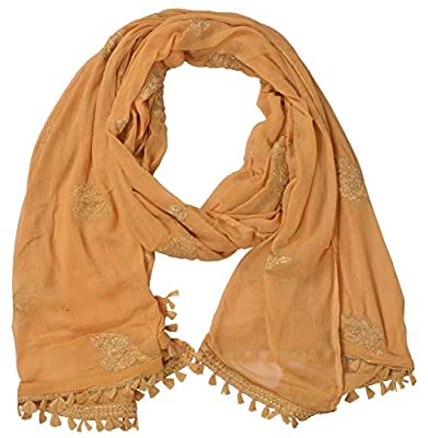 YOUTHQUAKE Women's Golden Patti Embroidered Work Chiffon Dupatta with Jaalar Lace