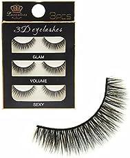 FOK Soft Natural Black Thick Long False Eyelashes Makeup Extension Pack Of 3 Pair Fake Eyelashes