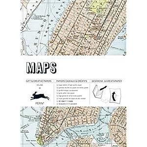 Libro 12 Pliegos Papel Regalo VINTAGE Creativo PEPIN Diseño MAPS MAPAS 721 7066