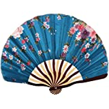 Sky Blue : Generic Bamboo Frame Flower Pattern Lady Dancing Wedding Party Folding Hand Fan Sky Blue