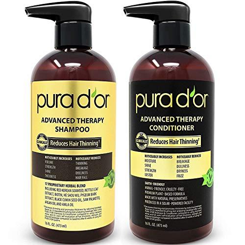 PURA D'OR Erweiterte Therapie System Shampoo und Conditioner reduziert die Haarverdünnung für den dickeren Kopf des Haares, angereichert mit Premium-Bio-Arganöl & Aloe Vera (Anlage-therapie)