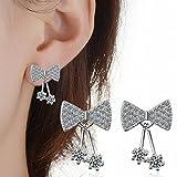 Mode Übertriebener Temperament Luxus Ultra-Feine Mikro-Eingelegten Zirkon Dreidimensionale Bogen Ohrringe Hellen Diamanten , im Bild