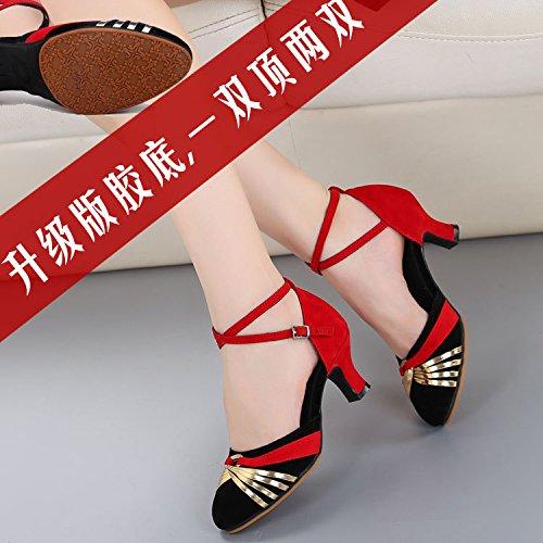 DGSA Latin Dance Schuh Mädchen mit Plaza Ballroom Dancing Schuhe mit weichen, Frühjahr und Herbst, moderne Schwarzes Gold innen Bgf