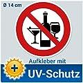 Aufkleber Schild Alkohol verboten, 14cm Ø Folie, Verbotsschild / Verbotszeichen Alkoholverbot