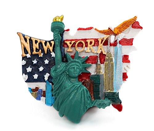 3D Résine Réfrigérateur Aimants De Cuisine Home Decor Tourist Souvenir de Voyage - New York, États-Unis (Statue de la Liberté, Drapeau National)