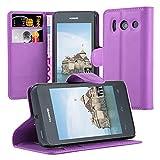 Cadorabo Hülle für Huawei Ascend Y300 Hülle in Mangan Violett Handyhülle mit Kartenfach und Standfunktion Case Cover Schutzhülle Etui Tasche Book Klapp Style Mangan-Violett