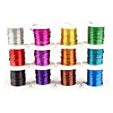 Creacraft Basteldraht - Set 12 Farben je 20m - 0.3mm Eisendraht eloxiert