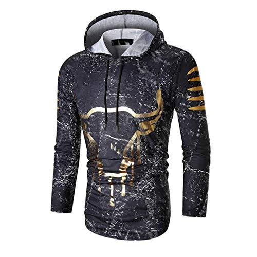Bringbring Damen Herren Hooded Pullover Herbst Winter Paar Lose LäSsige 3D Druck Halloween Warme Sweatshirt(M, Schwarz)