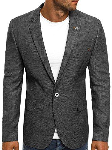 OZONEE Herren Sportsakko Sportliche Sakko Jackett Slim Fit Blazer Anzugjacke Business Anzug Kurzmantel BLACK ROCK 02 S ANTHRAZIT