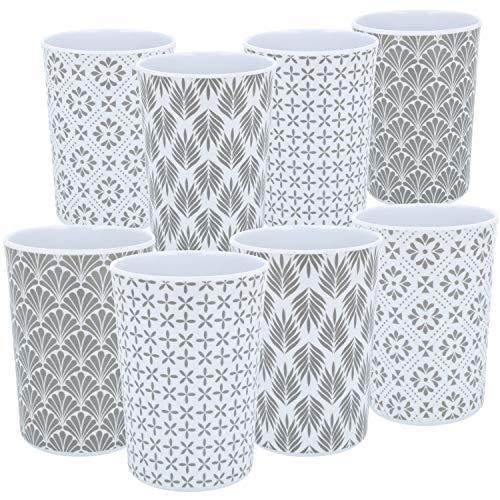 COM-FOUR® 8x Vaso para beber de melamina - Vaso de plástico de melamina - Vaso multifuncional con diferentes motivos - irrompible [la selección varía] (gris/blanco 350ml - 08 piezas)