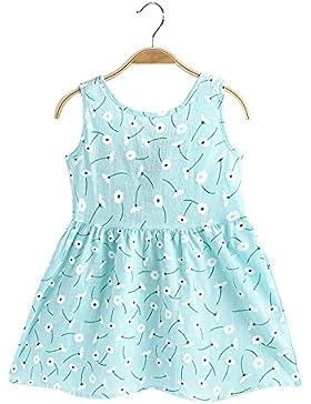 CozofLuv Niña Vestido de verano sin mangas de algodón 3-8 años