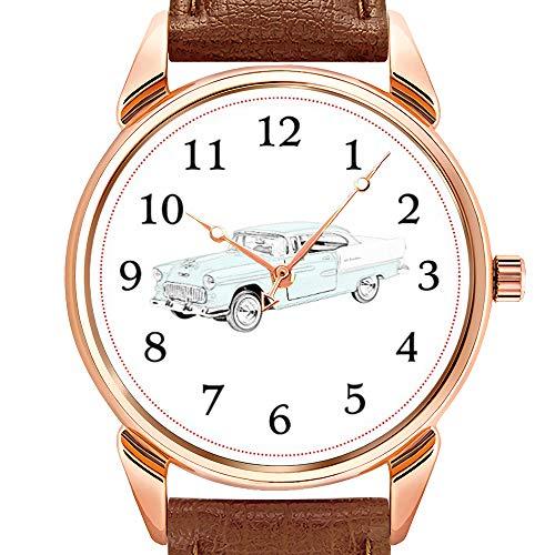 Herrenuhren Mode Quarzuhr Business wasserdicht leuchtende Uhr Männer braun Leder Uhr 1955 Chevrolet Bel Air Antikes Auto Illustration Armbanduhren