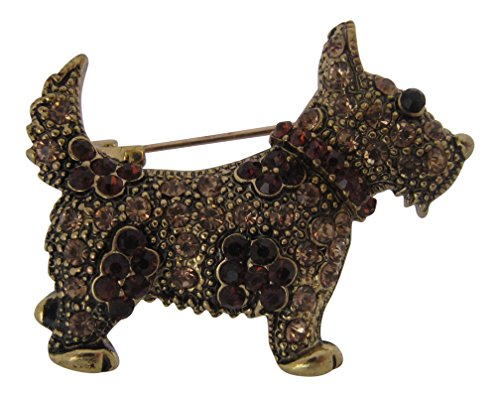 Brosche Boutique Gold Bernstein Scotty Hund Brosche/Brosche Schottische Terrier/West Highland Terrier -