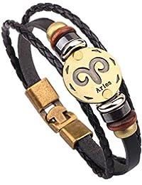 MJARTORIA Damen Sternzeichen Armband Lederarmband Surferarmband Armreif Geflochten Seil Sternbild 20cm