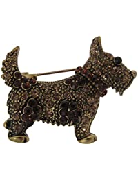 Broche Boutique dorado ámbar Scotty perro broche/broche/West Highland Terrier escocés Terrier