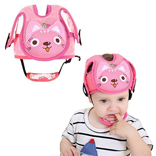 Pro Baby Head Displayschutzfolie Helm Lovely Cat & Dog Auto-Form Sicherheit Kopfschutz Kissen mit verstellbaren Trägern und Kinn Pad Schutz Gap Geschirre Hat für Infant Kleinkind Learn To Walk und Sit (Auto-zubehör-puffer)
