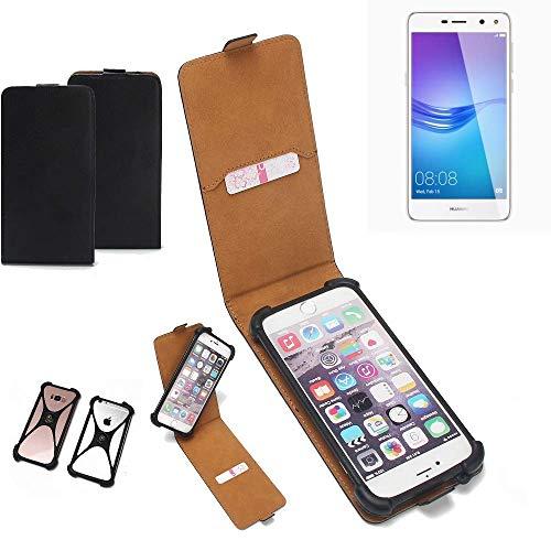 K-S-Trade Flipstyle Hülle für Huawei Y6 (2017) Single SIM Handyhülle Schutzhülle Tasche Handytasche Case Schutz Hülle + integrierter Bumper Kameraschutz, schwarz (1x)